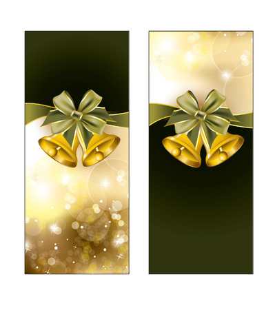 Greeting cards with golden bells  Christmas Background   Vector
