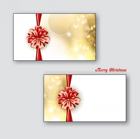 Greeting cards   Gift cards with red bows   Vector