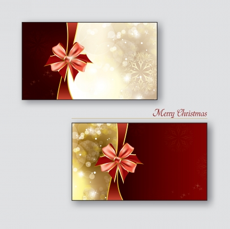 Greeting cards   Gift cards with red bows Stock Vector - 22786483