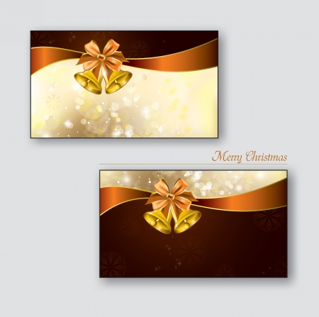 Greeting cards with golden bells  Vector Background   Vector