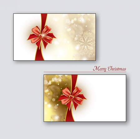 business card: Greeting cards   Gift cards with red bows  Christmas Background  Eps10   Illustration