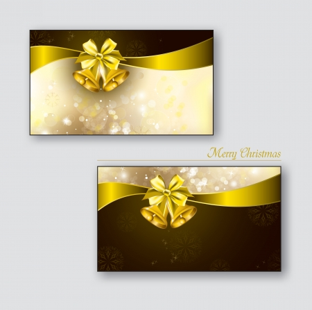 Greeting cards with golden bells  Vector Background  Eps10   Vector