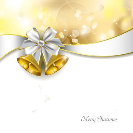 クリスマスの背景の金色の抽象的なデザインを鐘します。