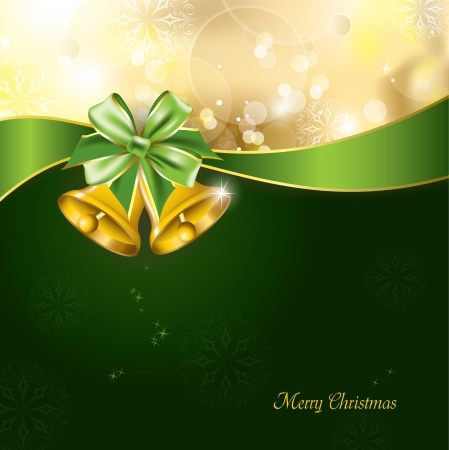Christmas Background with golden bells  Abstract Design  Vector