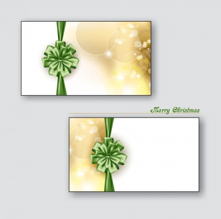 business card: Greeting cards Gift cards with green bows   Christmas Background