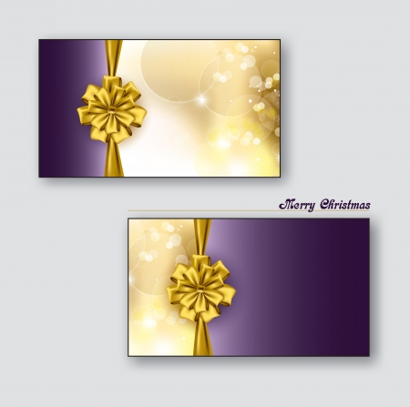 Christmas Greeting Cards or Gift Cards with Golden Bows  Vettoriali