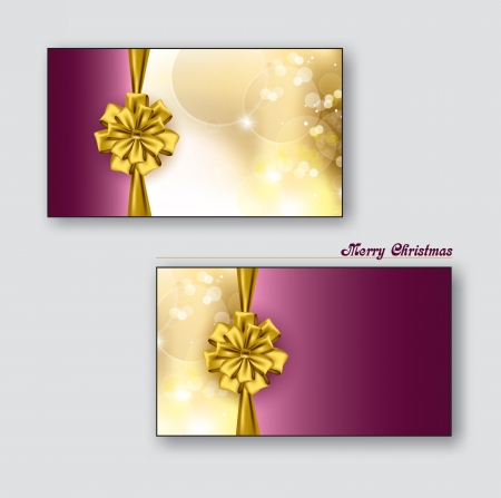 Christmas Greeting Cards or Gift Cards with Golden Bows  Vector