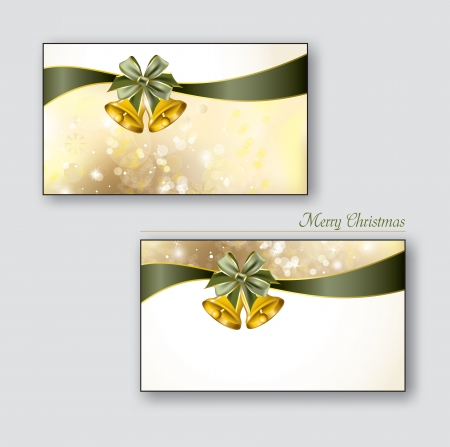 postcard: Christmas Greeting Cards with golden bells