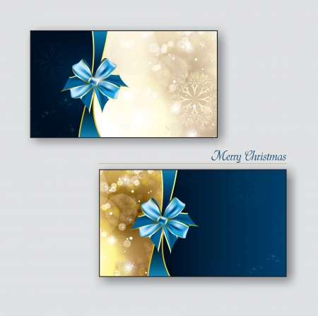 Christmas Greeting Cards or Gift Cards with Blue Bows  Vector
