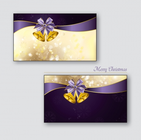 christmas bow: Christmas Greeting Cards with golden bells