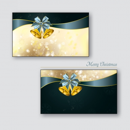 festive: Christmas Greeting Cards with golden bells