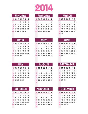 2014 Calendar  Stock Vector - 23548899