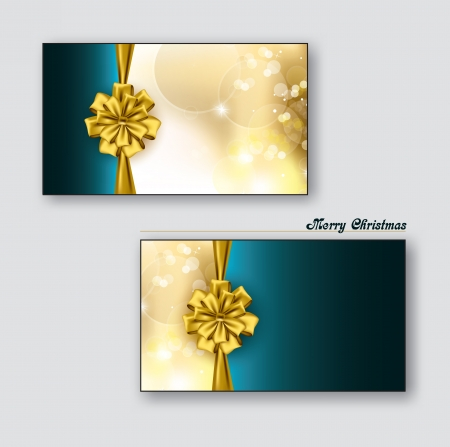 Christmas Greeting Cards or Gift Cards with Golden Bows  Illustration