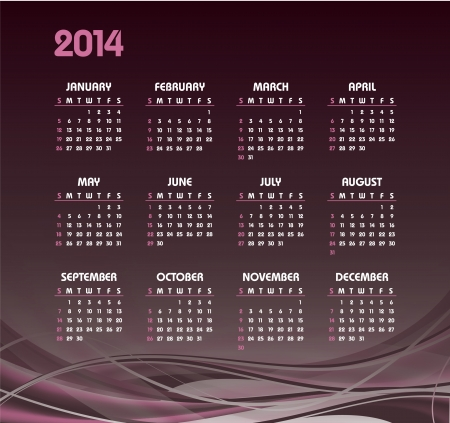 2014 Calendar  Vector Design Stock Vector - 24056234