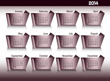2014 Calendar Stock Vector - 24504964