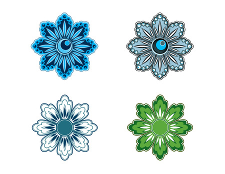 Four Vector Stylized Flowers