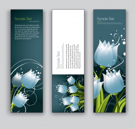 Banners with Tulips  Set of Three Vector Designs  Illustration