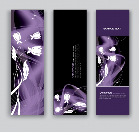 Banners with Flowers  Set of Three Vector Designs  Vector