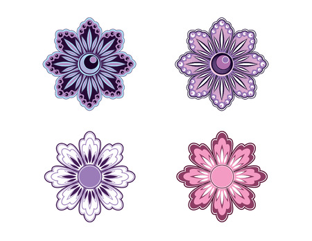 Set of Four Vector Flowers