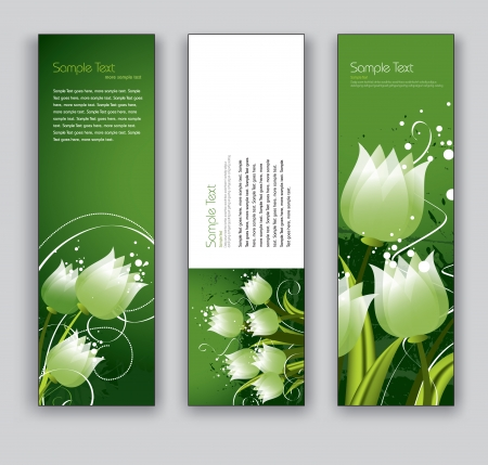 florish: Banners with Tulips  Set of Three Designs