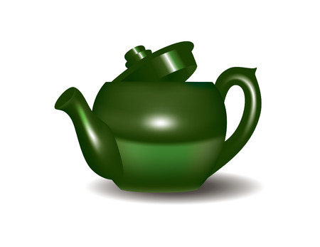 Green Tea Pot Illustration  Vector