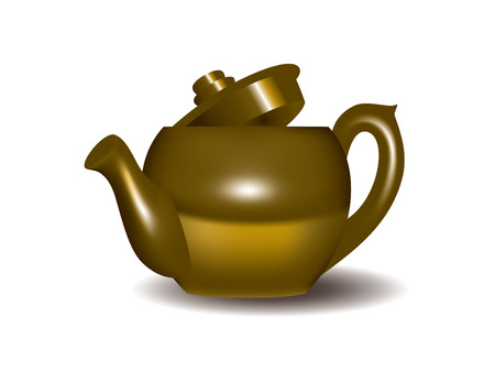 top menu: Golden Tea Pot Illustration