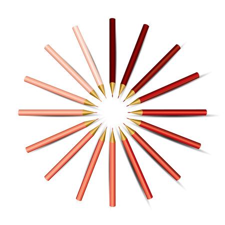 Red Pencils in a Circle   Vector