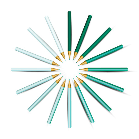 Turquoise Pencils in a Circle   Vector