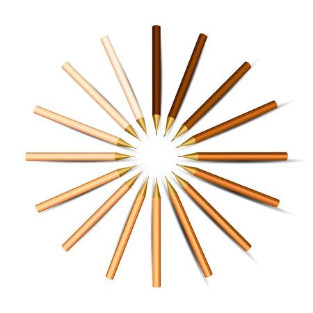 Orange Pencils in a Circle   Vector