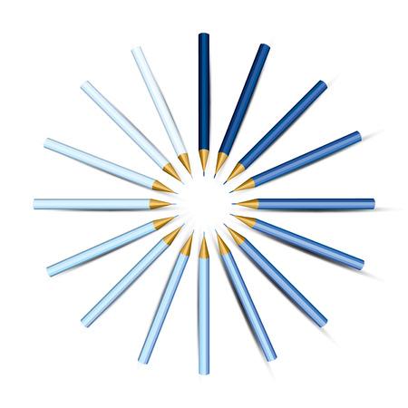 Blue Pencils in a Circle   Vector