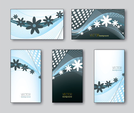 florish: Set of Business Cards or Gift Cards  Vector Illustration  Illustration