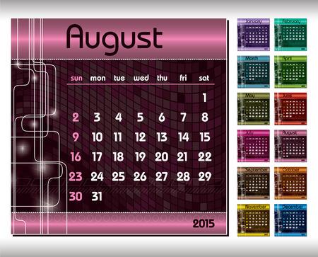 november 3d: 2015 Calendar. August. Illustration