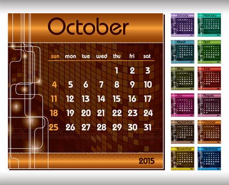 kalender oktober: 2015 Kalender. Oktober.