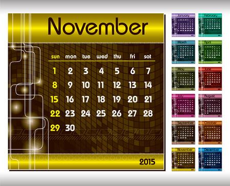 2015 Calendar. November.