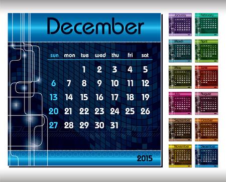 december: 2015 Calendar. December.