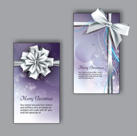 silver: Christmas greeting cards with Bows.