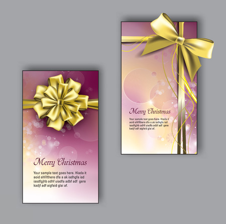 Christmas greeting cards with Golden Bows. Vector