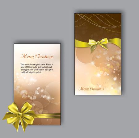 moños de navidad: Tarjetas de felicitación de Navidad con arcos dorados. Vectores