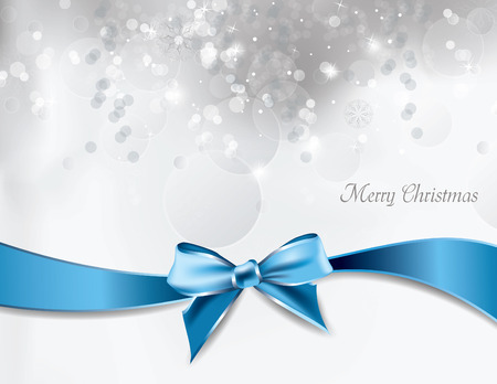 silver ribbon: Christmas Vector Background. Illustration