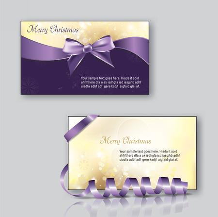 purple ribbon: Christmas Greeting Cards. Vector Illustration.