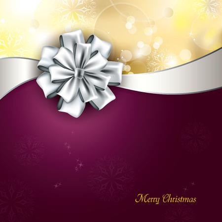 silver ribbon: Christmas Background. Vector Illustration.