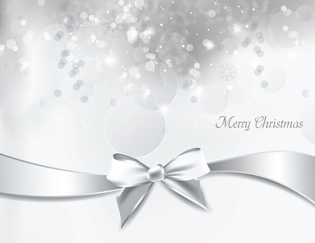 bow: Christmas Background. Vector Illustration.