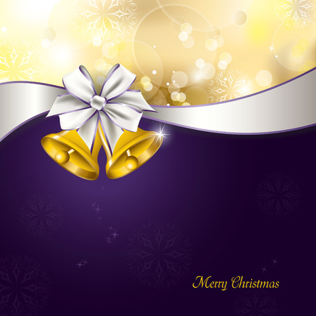 purple ribbon: Christmas Background. Vector Greeting Card.