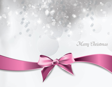 pink bow: Christmas Background. Vector Greeting Card.