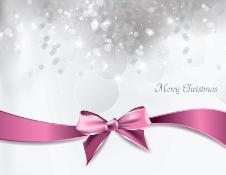 moño rosa: Fondo De La Navidad. Vector tarjeta de felicitación.