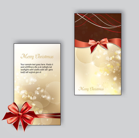 Christmas Greeting Cards with bows. Vector