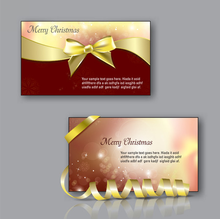 gold gift box: Christmas Greeting Cards with bow. Illustration