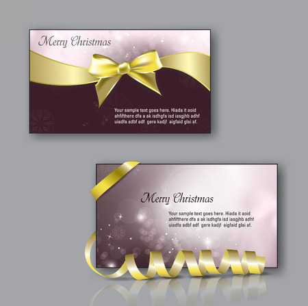 happy new year banner: Christmas Greeting Cards with bow. Illustration