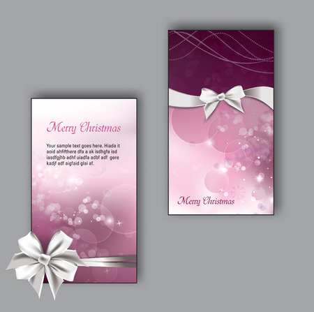 pink ribbon: Christmas Greeting Cards with bows.