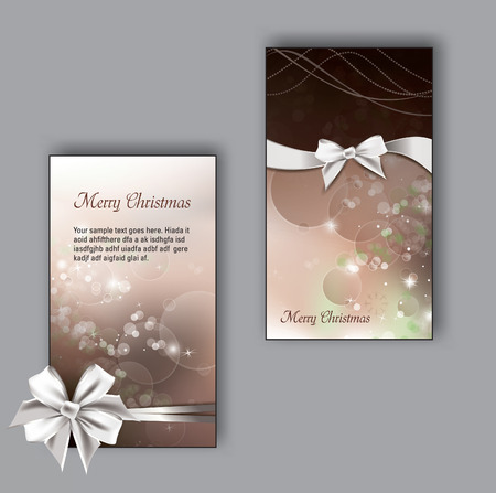 happy new year banner: Christmas Greeting Cards with bows.